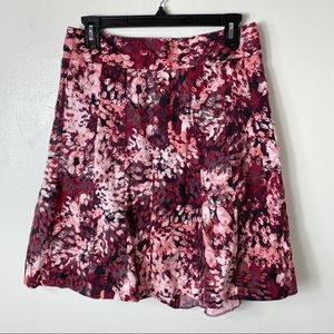 Ann Taylor Red Pink Floral Circle Flare Skirt 2